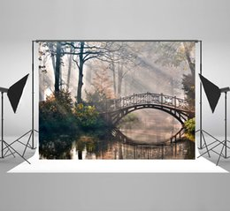 Wedding muslin backdrop online shopping - Natural Scenery Backdrop Seamless Fantasy Bridge Forest Tree Photography Background for Wedding Photo Photography