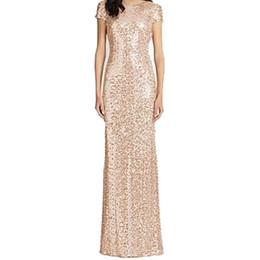 $enCountryForm.capitalKeyWord UK - 2019 Rose Gold Long Bridesmaid Dresses Floor Length Short Sleeve Mermaid Sequined Bling Bling Garden Wedding Guest Evening Party Gowns B65