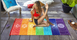 Discount rainbow mat - 2017 Rainbow Desginer Beach Towel Tapestry Boho Polyester BeachThrow with Tassel Yoga Mat Wall Hanging Large Shawls 150*