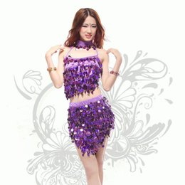 Barato Vestidos Latin Da Dança Do Sequin Do Salão De Baile-2017 New Ballroom Dance Dresses Samba Rumba Costume para Mulheres Sexy Sequins Dress Latin Sequin Dress 3pcs / set
