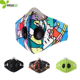 Filter Mask Bike Canada - Wosawe Carbon Air Filter Training Masks Cycling Face Mask Fitness Dust -Proof Bike Face Shield Mask Mens Motorcycle Half Face Mask
