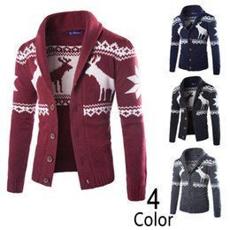 Barato Cervos De Malha-Men's Little Deer Sweater Natal Cardigan Knitwear 2017 Hot Sales Moda Casacos Men Casual Tops Tamanho Grande