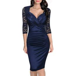 Frauen kleiden 2017 neue elegante Herbst Kleid Hit falten V-Ausschnitt Spitzennähte kultivieren jemandes Moral Kleid Großhandel Bleistift Kleider