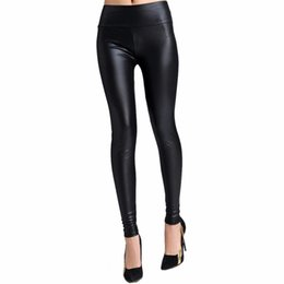 Leggings En Cuir Faux Pour Femme Pas Cher-Vente en gros - 1 PC Sexy Womens High Waist Faux Imitation Leather Skinny Trousers Pantalons Leggings