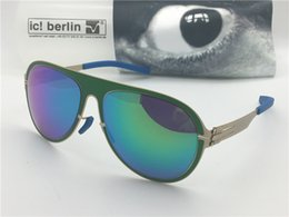 Germany coat online shopping - Germany designer men brand sunglasses IC ultra light without screw memory alloy removable stainless steel metal frame coated reflective lens