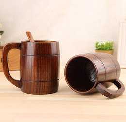 Wooden clamps online shopping - Classical Wooden Beer Tea Coffee Cup With Handle Simple And Retro Heatproof Home Office Party Drinkware Hot Sale ln J R