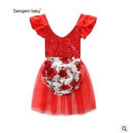 Tenues D'été Pour Les Jeunes Filles Mignonnes Pas Cher-Baby Girls Romper Outfit 2017 Summer Sequin Jumpsuit Romper pour les filles Cute Floral Romper Robe Ins Clothing Toddler Infant Floral Clothes