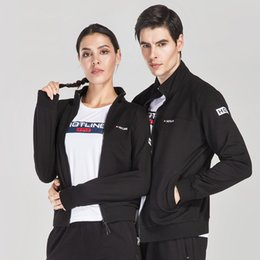 Full Zip Jacket Polyester Australia - Men and Women Long sleeve Training Full-zip Hoodie Running Jacket Sweatshirts