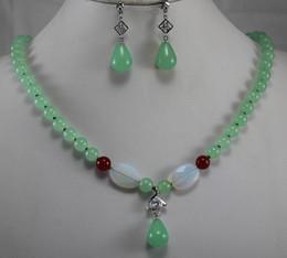 Black Jade Wedding Rings Canada - Prett Lovely Women's Wedding Jewelry 12mm Blue Jade Pendant Necklace Earrings Ring Set