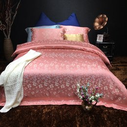 luxury silk cotton satin jacquard red bean color small flower bedding set duvet cover bed linen bed sheet pillowcases bedclothes