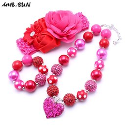 $enCountryForm.capitalKeyWord Canada - MHS.SUN Pink+Red Color Heart Kid Chunky Necklace Infant Kids Bubblegum Bead Chunky Necklace Jewelry Birthday Party Gift For Children Girls