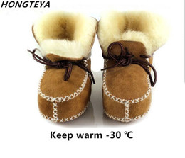 Lace Up Baby Booties Canada - New sheepskin Genuine Leather Wool fur baby boy Winter boots infant girls warm Moccasins shoes with plush lace up booties