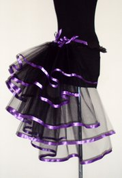 Robes Burlesques Pas Cher-Sexy Layered Ruffle Mini Tutu Jupe Burlesque Petticoats Clubwear Dance Ball Gown Party Jupe Rose Purple couleur taille libre S005