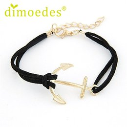Wholesale Best Seller Hot Cheap fashion Women Retro Alloy Anchor Braided Rope Gold Charm Jewelry Bracelet Oct14