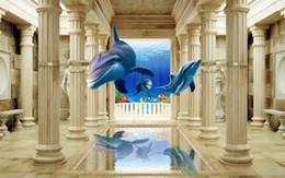 Dolphin Room Canada - 3D Murals Wallpaper Dolphin Roman column Custom Photo Wallpaper 3D Any Wall door Mural Wallpaper