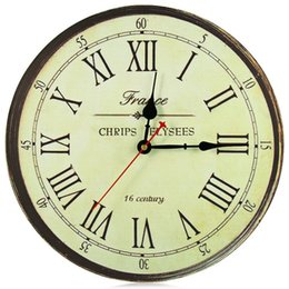 silent vintage wall clock 2019 - Wholesale- Best Quality Large Wall Clock Silent Antique Wooden Round Clock Wall Rustic Vintage Roman Numerals Design dis