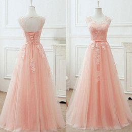 Barato Baile De Formatura Corset Barato-Gorgeous Blush Pink Prom Dress A Line Sheer Neck mangas Encere Appliques Corset Prom Dresses Lace-up Open Back Cheap Evening Gown