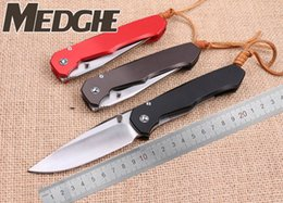 Titane Couteau À Lame De Rasoir Pas Cher-MEDGE Wild Boar Lochsa Satin D2 Drop Point Blade Skinner Razor 3 Couleur Aviation Poignée en aluminium TC4 Titane Clip Folding Pocket EDC Knives