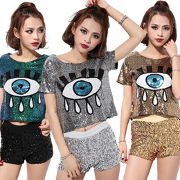 Barato Trajes De Dança Em Lantejoulas-Club Fashion Women Short Tshirt DS Trajes Perform Jazz Dance New Feminino Hip-hop Vestuário Big Eyes Sequined Tops