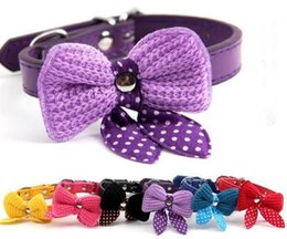 knit dog collar 2019 - 2082# Wholesale Dog Supplies Cat Collar Dog Collar Puppy Kitten Small Pet More Colors With Knit Bowknot Adjustable cheap
