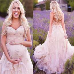 China Country Western Maternity Wedding Dresses with Flowers A-line Sweetheart Neckline Bohemian Style Rustic Blush Pink Plus Size Bridal Dress supplier maternity court wedding dress suppliers
