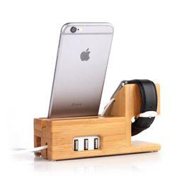 Ingrosso Per iPhone 7 6 6s Plus 5 5s SE Supporto di ricarica Fashion Bamboo Natural Socket Porta cellulare in vero legno di bambù per iWatch