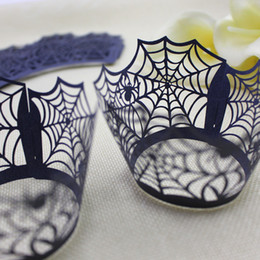 $enCountryForm.capitalKeyWord NZ - Navy Blue Cupcake Wrapper Spider Web Laser cutting Mini Cake Wrapping For Halloween Wedding Christmas Party Cake Decoration