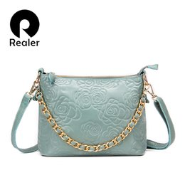 $enCountryForm.capitalKeyWord Canada - Wholesale-Realer Brand Women Genuine Leather Shoulder Bags With Chain Messenger Bag Floral Pattern Embossed Handbag Pink Blue