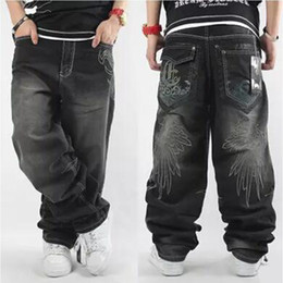 Pantalons Larges À Pattes Larges Pas Cher-Vente en gros- 2017 Hommes Baggy Jeans Hommes Wide Leg Denim Pants Hip Hop 2017 New Fashion Broderie Skateboarder Jeans Livraison gratuite cholyl