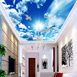 Wholesale Custom Large Ceiling Mural Wallpaper D Stereo Blue Sky White Clouds Dove Nature Landscape Photo Mural Ceiling Wallpapers