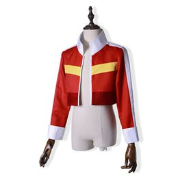 Manteau Pas Cher-Jeu Voltron Défenseur de l'Univers Cosplay Keith Red Vestes courtes Manteau décontracté Costume Halloween Party Wear Outfit