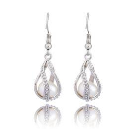 $enCountryForm.capitalKeyWord UK - Silver Spiral Drop Dangle Earrings Fashion Pearl Cage Pendant Earrings With Oyster Pearl Women Locket Jewelry