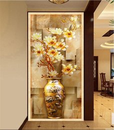 wall stickers corridor Canada - 3d wallpaper custom mural non-woven wall sticker High-definition color emboss vase porch corridor background 3d wall murals