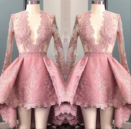 Discount pictures 8th grade dresses - Hi Lo Pink Long Sleeves Appliques Homecoming Cocktail Dress 2017 Deep V-Neck Elegant 8th Grade Prom Party Dresses