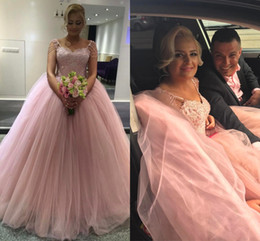 Corset En Dentelle En Tulle Rose Pas Cher-Robe de bal en grosse taille Robes de quinceanera Sweetheart Beaded Cap Sleeves Appliques Tulle Corset Lace Up Pink Robe de bal Sweet Sixteen Dress