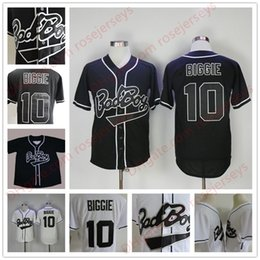 Barato Bad Boy Jersey-Mens B.I.G. # 10 Biggie Smalls Black Jersey O Notorious Movie Bad Boy White Stitched Baseball Film Buttons barato Jerseys Tamanho S-3XL