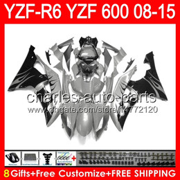 Fairing r6 silver online shopping - 8gifts For YAMAHA gloss silver YZF R6 YZF600 YZF R6 NO92 YZFR6 gloss grey Fairing