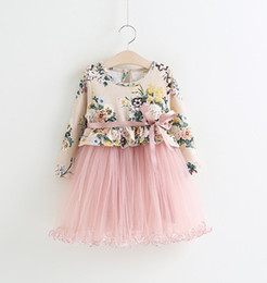 $enCountryForm.capitalKeyWord NZ - Fairy Girls Flower Gauze Dresses with Ribbon Strap Kids Boutique Clothing Little Girls Floral Party Tutu Dresses