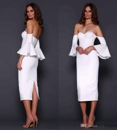 Robe Blanche À Manches Longues Pas Cher-New Arrival 2017 Off Shoulder Gaine Robes de cocktail Robe de soirée Robe de soirée Robes de soirée Homecoming Custom Made