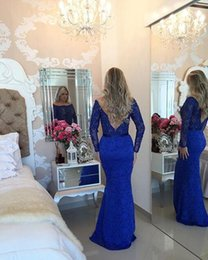 MyriaM fares hot dress online shopping - 2019 Hot Sales Myriam Fares Arabic Mermaid Bateau Evening Dressess Long Sleeves Sexy Back Lace Trumpet Prom Party Gowns Floor Length