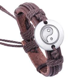 Chinese  Chinese Tai Chi Yin Yang Bracelet Adjustable Genuine Leather Bracelets Bangle Cuffs Wristband for Women Men Fashion Jewelry DROPSHIP 162283 manufacturers