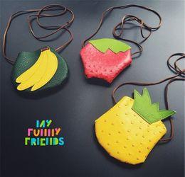 Discount fruit shaped purses - Wholesale- JC KIDS kids small fruit Coin purse Banana Strawberry Pineapple shape cute coin purse for girls PU Messenger