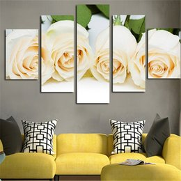 $enCountryForm.capitalKeyWord NZ - HD printed Rose Flower Art Paintings on Canvas Top Quality 5 Panel Modular Gifts Pictures for Living room Unframed Drop shipping