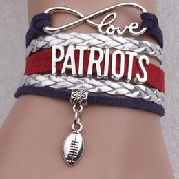 Weaved Bracelets NZ - Patriot PATRIOTS infinite 8 Rugby multi layer multi colored velvet rope hand woven Bracelet