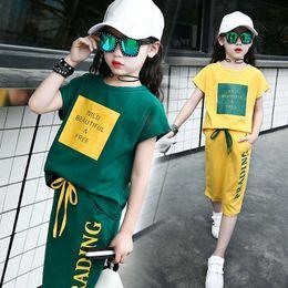 $enCountryForm.capitalKeyWord NZ - green yellow 2019 summer girls skirt sets 2pcs kids baby girls clothes sets short sleeve t shirts tops and knee length skirts big girls sets