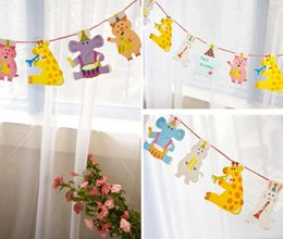 Kids birthday party pacKs online shopping - New Arrive Pack M Happy Family Baby Shower Cartoon Animal Garland Striped Paper Flags Banner Decor Birthday Party Supplies For kids