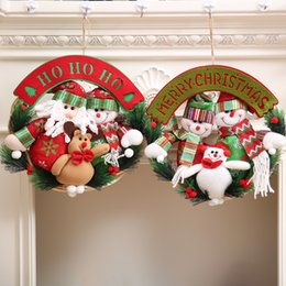 christmas ornament wreath 2019 - 2Style Christmas Wreaths Door Hanging Ornaments Rattan Ring Garlands Christmas Decorations Home Party Decor Pendants che