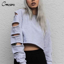 Midriffs Sexy Pas Cher-Vente en gros- CWLSP Sexy Sweatshirt Femme Long Sleeve Holes Hollow Out Crop Top Midriff Femmes Hoodies Sweatshirt polerones mujer bts kpop
