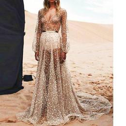 Europa gasa sexy lentejuelas perspectiva de manga larga plisada maxi vestido de fiesta de las mujeres más tamaño primavera otoño puro vestido de la pista de club de noche de plata en venta