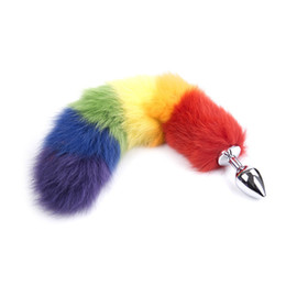 Barato Cauda Animal Butt Plugs-Novo Rainbow Colorful Anal Plug Tail, Faux Tail Butt Plug, Animal RolePlay Cat Tail Cosplay, Sex Produtos, Erotic Sex Toys 0701